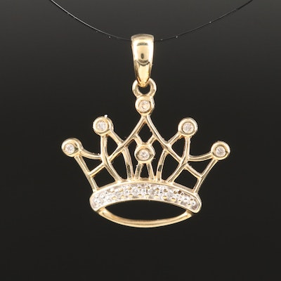 10K Diamond Crown Pendant
