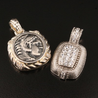 Judith Ripka Cubic Zirconia with Alexander the Great Greek Tetradrachm Pendants