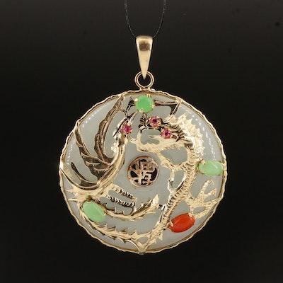 Chinese 14K Jadeite and Ruby Bi-Disc Dragon Pendant
