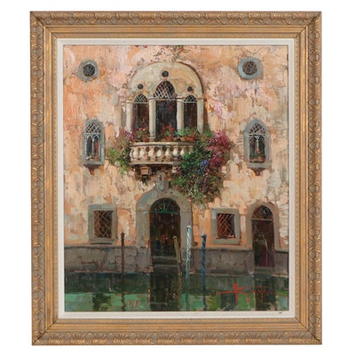 "Oil Painting ""Venezia,"" 20th Century"