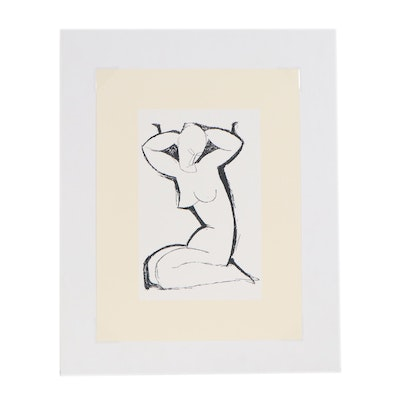 Figural Serigraph after Amedeo Modigliani of Female Nude