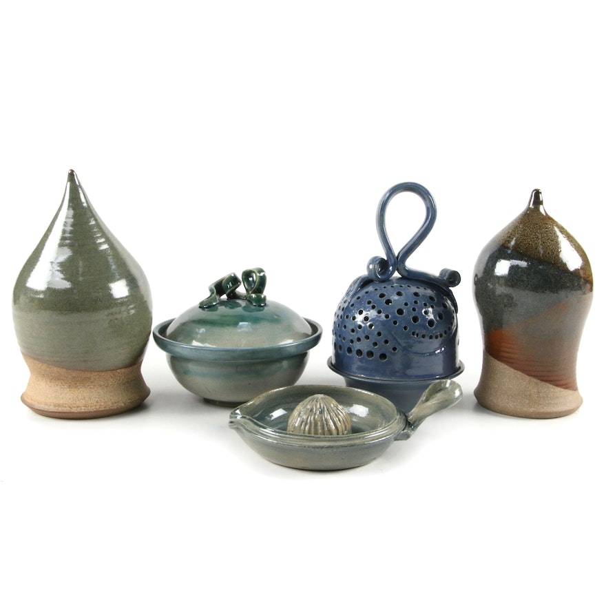 Blue and Green Pottery Kitchenware Including D. O'BRien, and Others