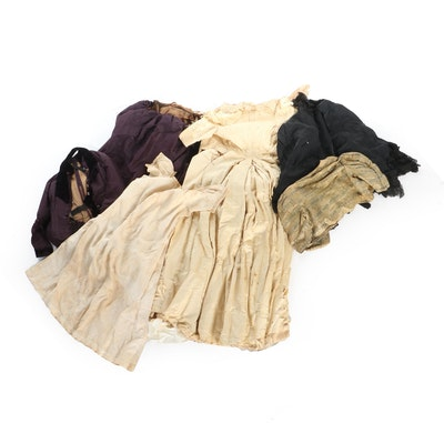 Victorian Embellished Silk Gowns, Cape with Cotton Chemise and Other Garments