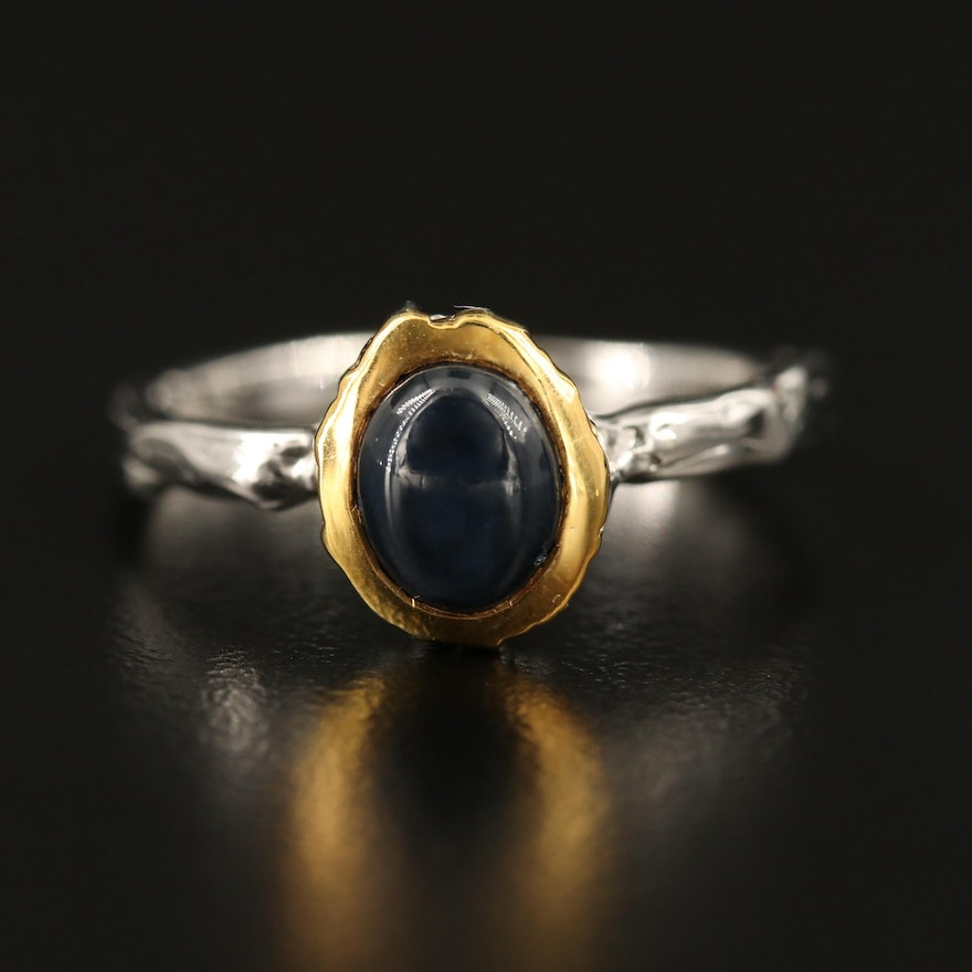 Sterling Silver Sapphire Ring Featuring Organic Design