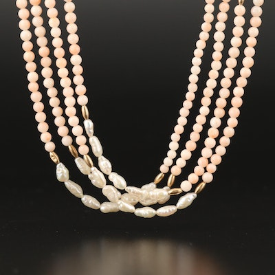 Pearl and Angel Skin Coral Multi-Strand Necklace with 14K Findings