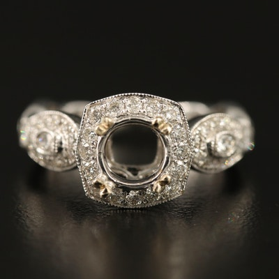 14K 1.10 CTW Diamond Semi-Mount Ring