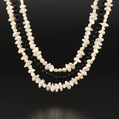 Multi-Strand Keshi Pearl and Black Onyx Necklace with 14K Clasp