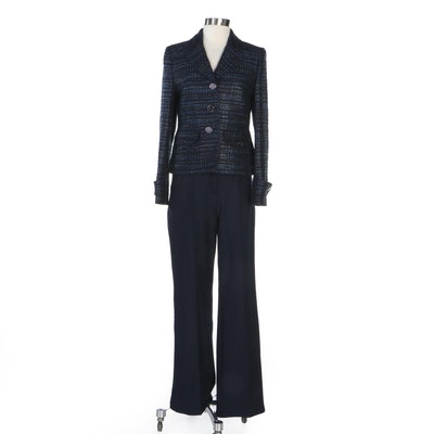 Escada Metallic Tweed Jacket and Navy Wool Blend Trousers