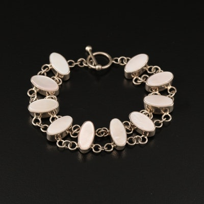 Sterling Silver Mother of Pearl Link Bracelet