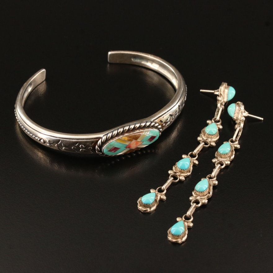 Southwestern Style Sterling Silver Relios Cuff with Turquoise Earrings