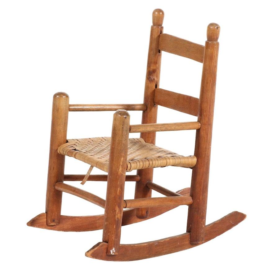 Child's American Primitive Walnut Rocking Chair with Ash Splint Seat