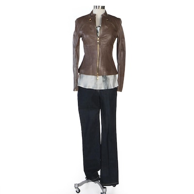 Escada Leather Jacket with Draped Chain Strap Blouse and Beaded Jeans