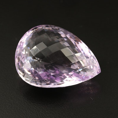 Loose 85.97 CT Checkerboard Pear Faceted Amethyst