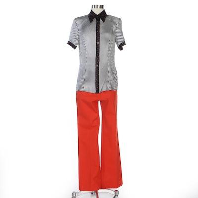 Escada Silk Striped Contrast Dot Blouse with Orange Trousers