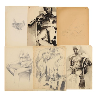 Modern Charcoal and Ink Figurative Gesture Drawings, 1960s