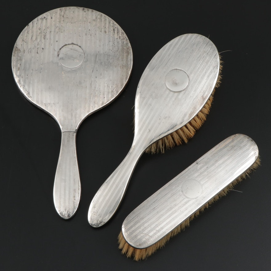 English Engine Turned Sterling Hand Mirror and Brushes, Early 20th Century