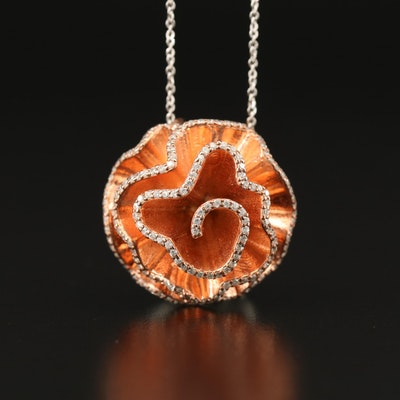 Sterling Silver Cubic Zirconia Flower Motif Pendant Necklace