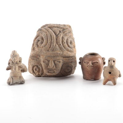 Pre-Columbian Style Stone and Ceramic Figures