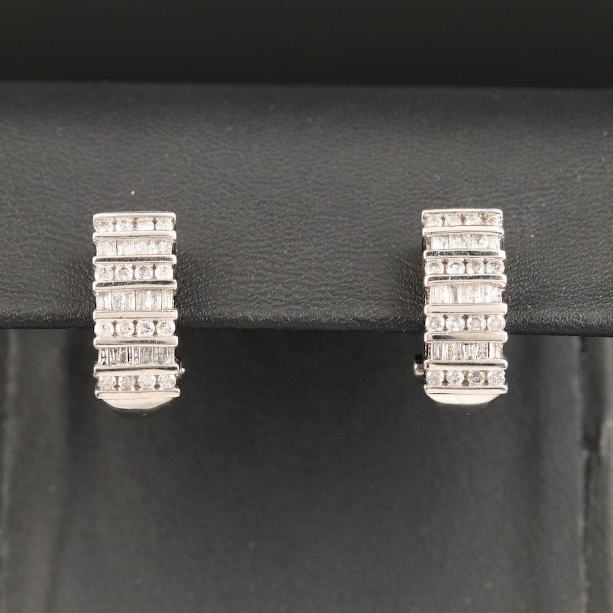 10K Channel Set 1.18 CTW Diamond Multi Row J Hoop Earrings