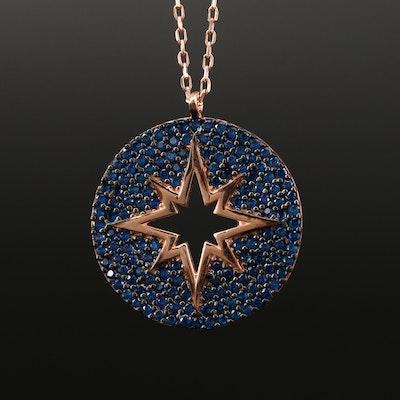 Sterling Silver Spinel Northstar Motif Necklace