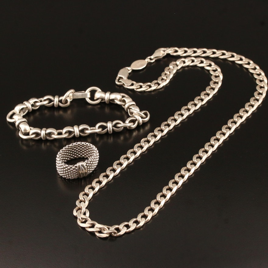 Mexican Sterling Silver Fancy Link Bracelet, Curb Link Necklace and Mesh Ring