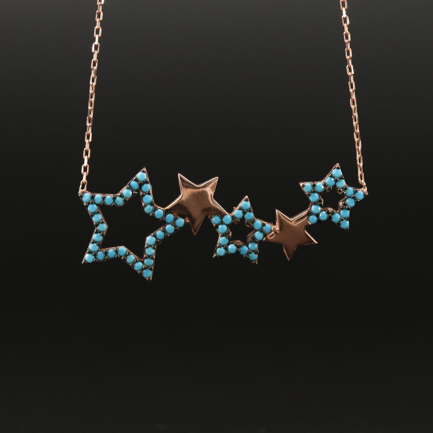 "Sterling Silver Faux Turquoise ""Line of Stars"" Necklace"