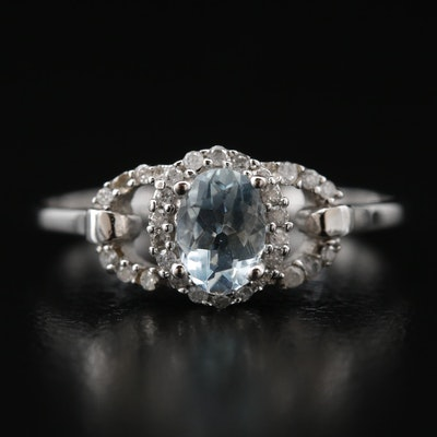 10K Aquamarine and Diamond Ring