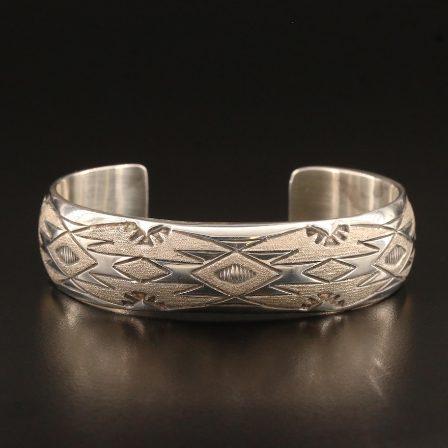 Signed Western Style Sterling Cuff