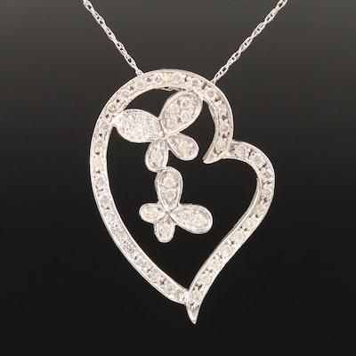 10K Diamond Butterfly and Heart Motif Pendant Necklace