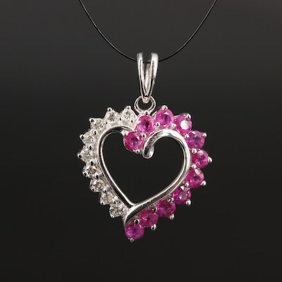 14K Ruby and Diamond Heart Pendant