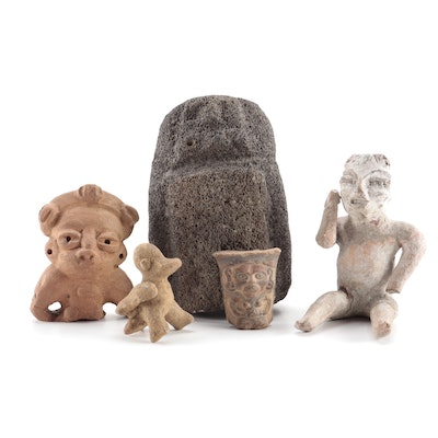 Pre-Columbian Style Volcanic Rock and Ceramic Figures