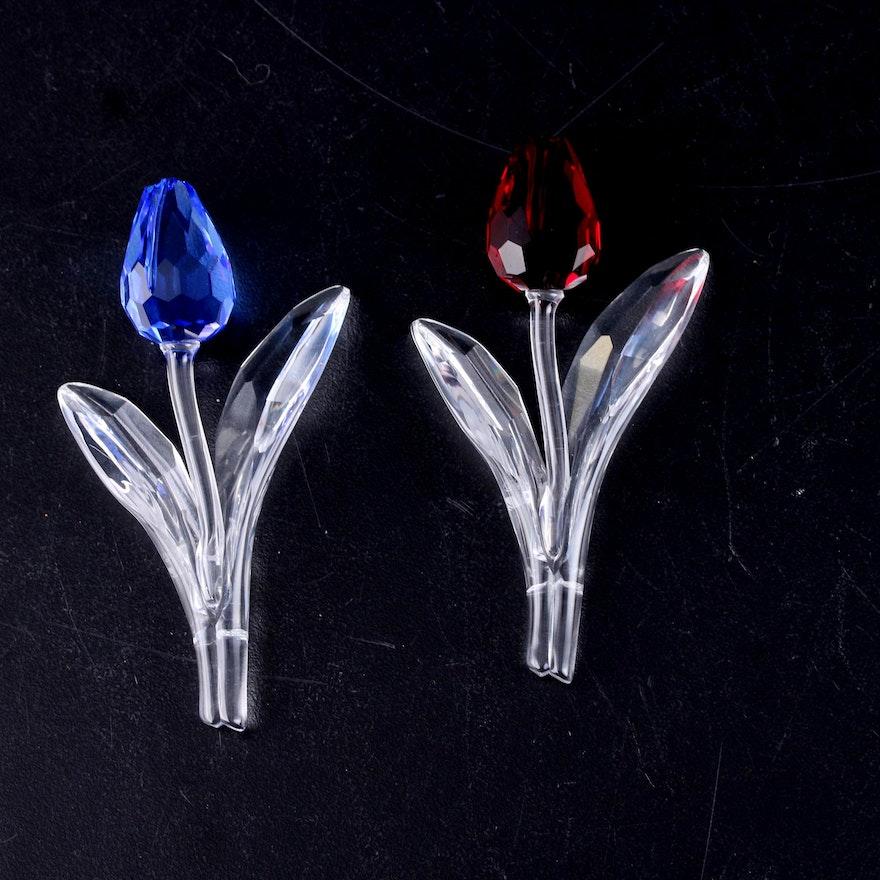 Swarovski Crystal Society Member Renewal Blue and Red Tulip Figurines