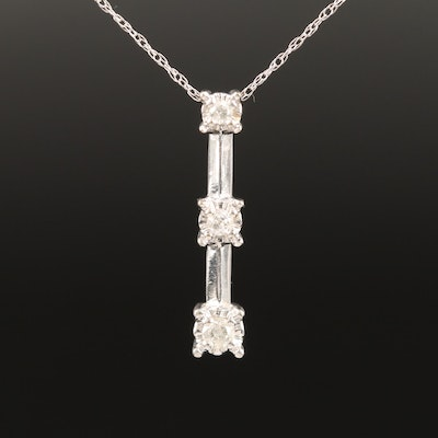 10K Diamond Graduated Drop Pendant Necklace