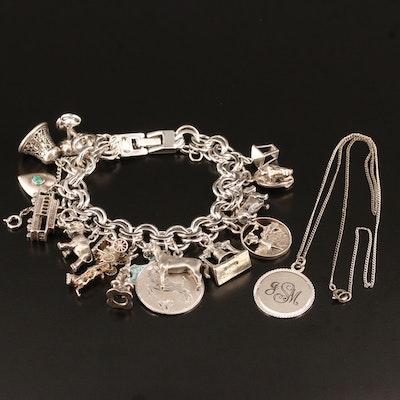 Vintage Charm Bracelet and Sterling Silver Pendant Necklace