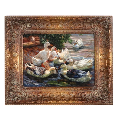 Adolf Lohmann Oil Painting of Ducks in Water, Late 20th century
