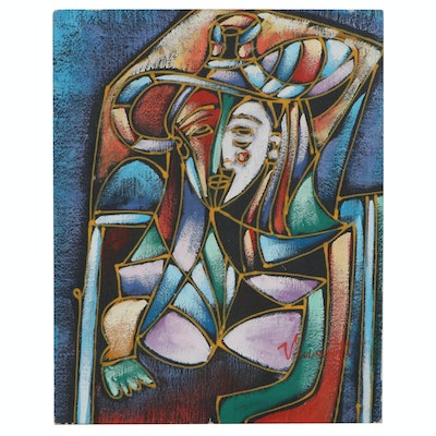 Abstract Oil Painting of Figure in Hat, 21st Century