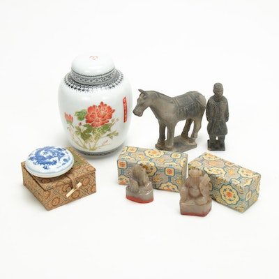 Chinese Stone Seals, Porcelain Jar and Figurines, Mid to Late 20th Century