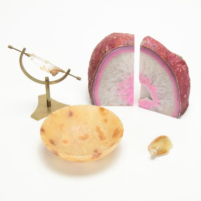 Dyed Agate Bookends with Other Mineral Office Accessories