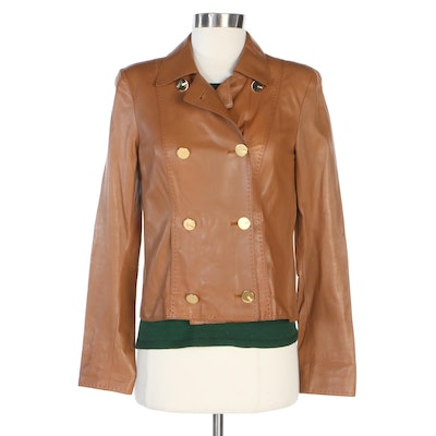 Escada Camel Leather Jacket with Gathered Green Knit Top