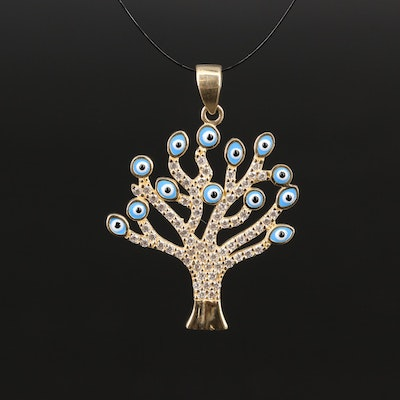 "14K Enamel and Cubic Zirconia ""Evil Eye"" Tree Pendant"