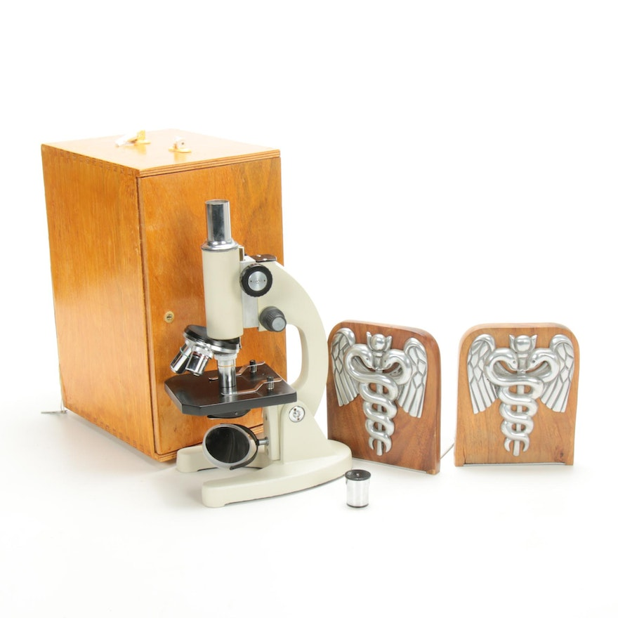 Caduceus Bookends and Microscope in Box