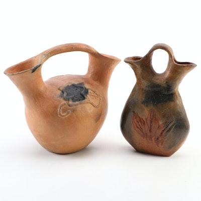 Navajo American Southwestern Terracotta Pottery Wedding Vases