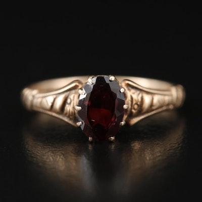 Circa 1915 9K Garnet Solitaire Ring