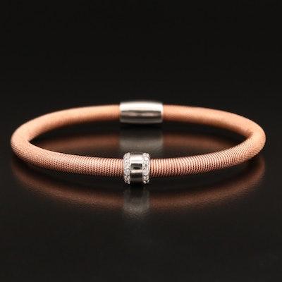 Sterling Cubic Zirconia Cable Wrap Link Bracelet