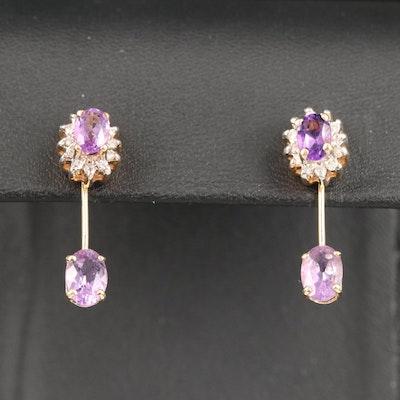 14K Amethyst and Diamond Stud Earrings with Drop Enhancers