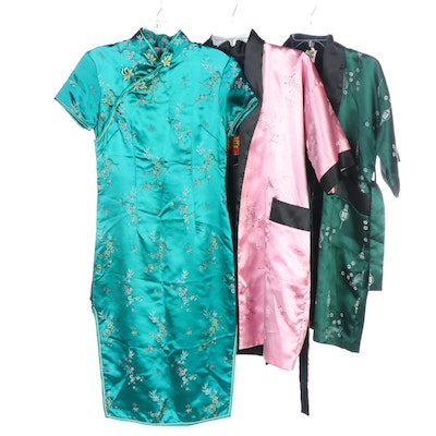 Green Floral Cheongsam Dress with Reversible Satin Robes
