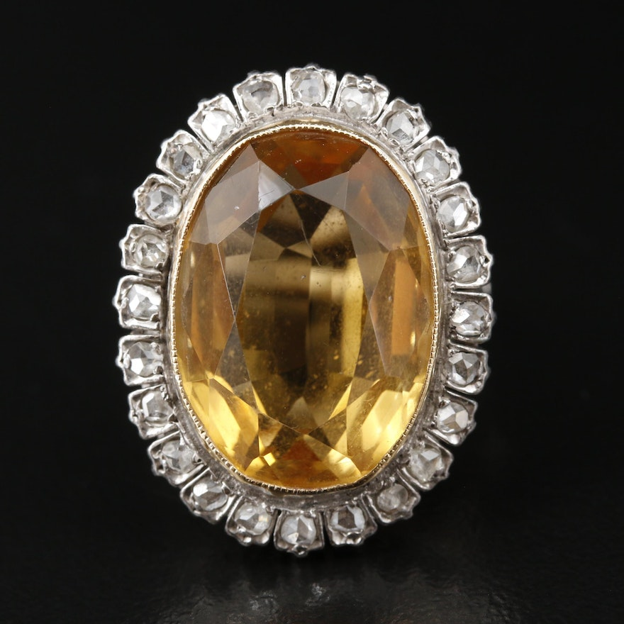 Vintage Style 14K 12.81 CT Citrine and Diamond Ring
