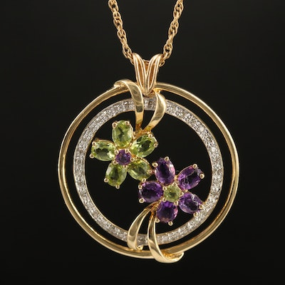 14K Amethyst and Peridot Floral Motif Necklace with Diamond Halo