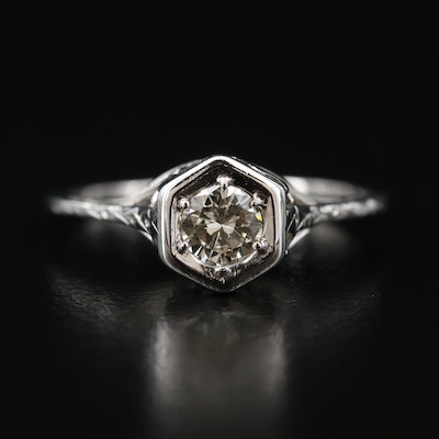 Vintage 18K Diamond Openwork Ring
