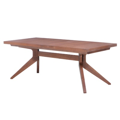 """Matthew Hilton for Case Walnut """"Cross Extension Table"""" with Leaf Insert"""
